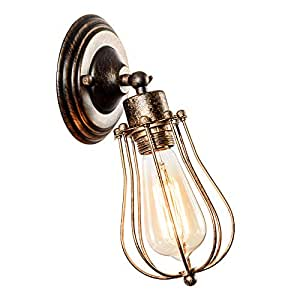 Luling Industrial Wall Sconce Vintage Lighting Adjustable Lamp Socket Wire Metal Cage Wall Light Shade Edison Style Antique Fixture Porch Mirror One Size Bronze