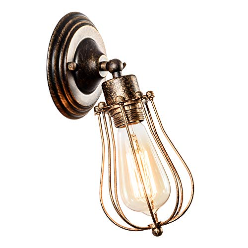 LULING Industrial Wall Sconce Vintage Lighting Adjustable Lamp Rustic Wire Metal Cage Oil Rubbed Wall Light Shade Edison Style Antique Fixture Porch Mirror (No Bulb) (Bronze Color) (Bronze)