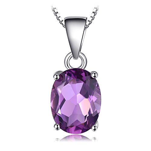 JewelryPalace Gemstones Birthstone Necklace For Women 925 Sterling Silver Solitaire Pendant Necklace For Girls 1.7ct Natural Amethyst Necklace Chain Box 18 Inches Oval Cut