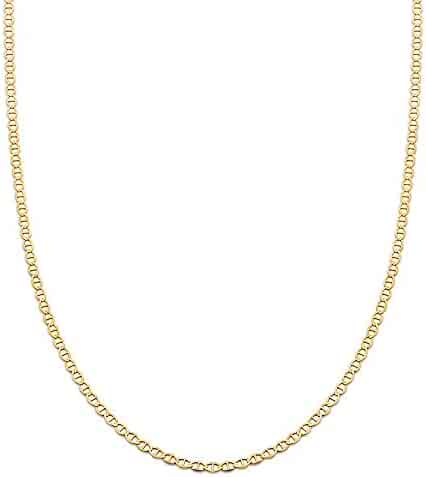 Mr. Bling 14K Yellow Gold Solid Mariner Chain Necklace with Lobster Lock (2.5mm to 5mm)