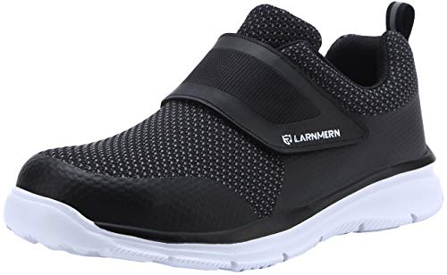 LARNMERN Men's Steel Toe Work Shoes, LM-1821 Knit Breathable Lightweight Safety Shoes with Magic Tape (7.5, Black)