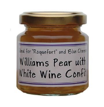 William Pear and White wine French Imported confit for cheeses 4.4 oz jar by l'Epicurien France, Three by L'Epicurien