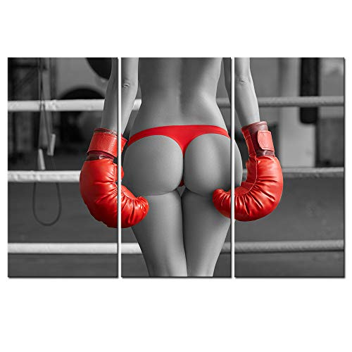White Boxer Pictures - Sechars - Black and White Red Wall Art Sexy Women Boxer Picture on Canvas for Bedroom Wall Decoration Charming Girl Poster Print Artwork Framed Ready to Hang