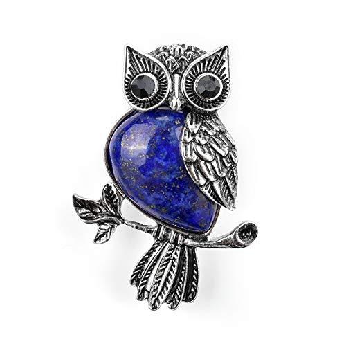 Jovivi Vintage Crystal Rhinestone Dyed Lapis Lazuli Leaf Cute Owl Bird Brooch Lapel Pins for Women Girls Wedding Bouquet