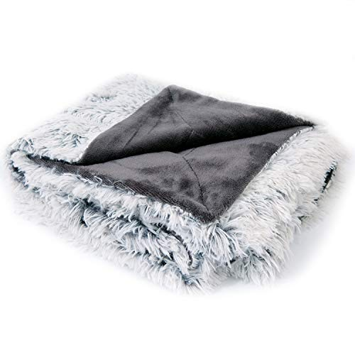 (Cheer Collection Reversible Throw Blanket | Long Shaggy Hair Faux Fur Accent Throw - 50