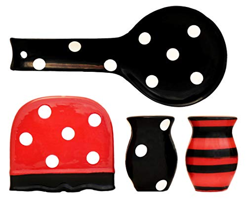ACK Black Red Polka Dot Collection Handcrafted Ceramic Table Top Set, 86525/28
