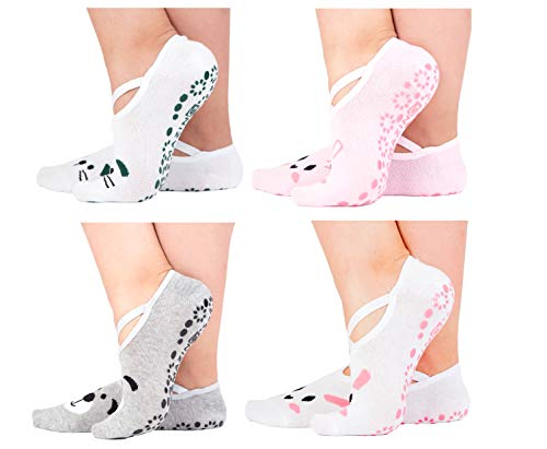 Yoga Socks for Women Barre Sock Grip Non-Slip No-Skid Pilates Hospital Maternity (4-Pair Mixed Light Color)