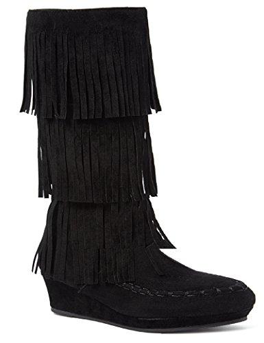Girl Fringe Boots (New Girls Suede Fringe Tassel Moccasin Faux Suede Fashion Children Boots Shoes (Black- Snowball, Little Kid 3))