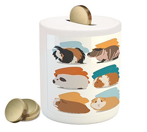 Lunarable Guinea Pig Piggy Bank, Minimalist Illustration Types of Pet Rodents Soft Pastel Coloring Brush Strokes, Printed Ceramic Coin Bank Money Box for Cash Saving, Multicolor
