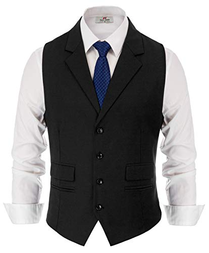 (PAUL JONES Men's Slim Fit Business Suit Vest Tailored Collar Casual Vest Waistcoat for Suit or Tuxedo Black )