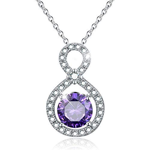 (Esberry✦Gifts for Mother's Day with Gift Wrap✦18K Gold Plated 925 Sterling Silver CZ Simulated Diamond Infinity Teardrop Pendant Necklace Cubic Zirconia Pendant with Necklaces for Women (Purple))