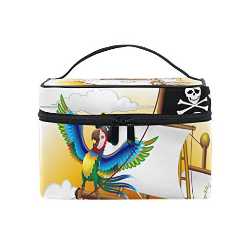 HELVOON Nautical Pirate Boat Skull Anchor Pirrot Cosmetic Bag Toiletry Travel Makeup Case Handle Pouch Multi-function Organizer for -