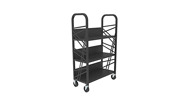 FixtureDisplays Metal Book Cart Library Cart Pew Cart Mobile Book Storage School Book Organier Ship Assembled 18465-ASSEMBLED-NF No