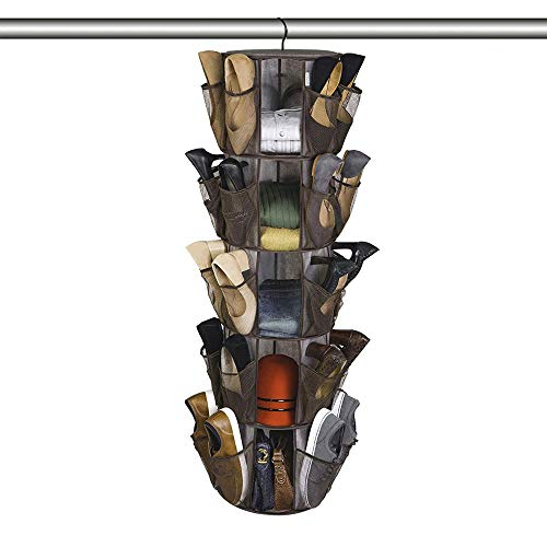 Smart Design 5-Tier Smart Carousel Organizer w/ 40 Pockets & Steel Metal Hook - 360 Degree Swivel - Heavy Duty Yarn Fabric - Clothing, Shoes, Misc. Item - Home Organization (13 x 51.8 Inch) [Milano]