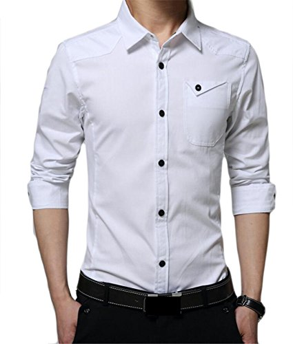 M&S&W Men's Stylish Leisure Long-Sleeved Button Up Shirts Blouse White (Button Up Long Sleeved)