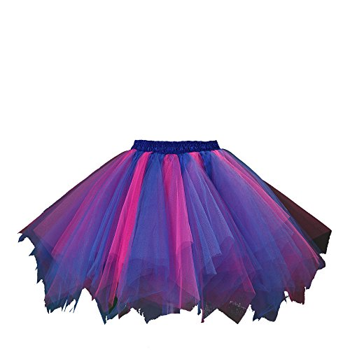 [Honeystore Women's Short Vintage Ballet Bubble Puffy Tutu Petticoat Skirt Royal Blue and Fuschia] (Fat Girl Halloween Costume Ideas)