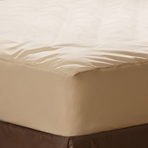 AllerEase Organic Cotton Allergy Protection Fitted Mattress Pad - 100% Organic Cotton Cover, Hypoallergenic Fill, Chemical Free - Block Dust Mites and Other Allergens - Natural Off-White, Twin