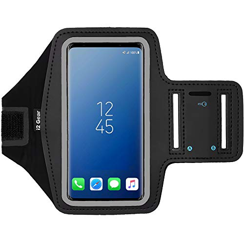 i2 Gear Cell Phone Armband Case for Running - Workout Phone Holder with Adjustable Arm Band and Reflective Border - Large Armband for iPhone X XS Galaxy S9, S8, S7, Edge, LG and Pixel 2, 3, Black Black Adjustable Sports Armband