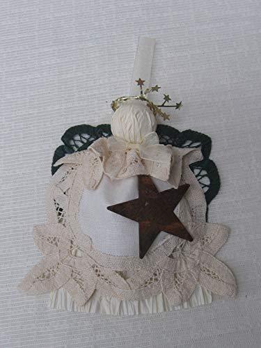 Rustic Beige Battenburg Lace Doily Angel Tree Ornament Angel Lover Gift