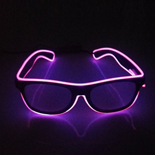 Light up EL wire LED Sunglasses with dark lens 10 Color choice for Party Festival Concert