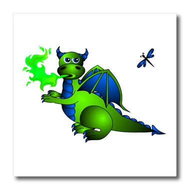 3dRose ht_24665_2 Green and Blue Fire Breathing Dragon and Dragonfly-Iron on Heat Transfer for White Material, 6 by 6-Inch