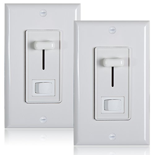2 Light Led Wall (Maxxima 3-Way / Single Pole Dimmer Electrical light Switch 600 Watt max, LED Compatible, Wall Plate Included (2 Pack))