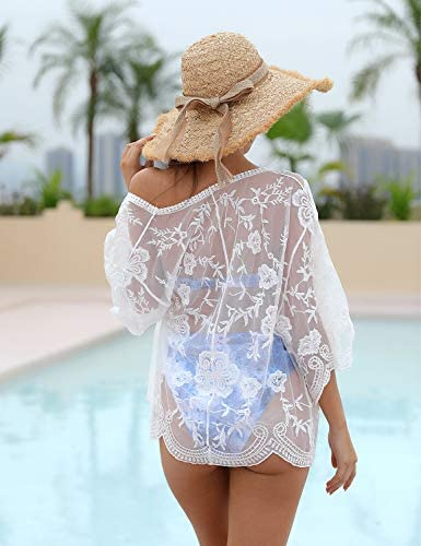 Blooming Jelly Womens Bathing Suit Coverups Crochet Open Front Beach Bikini Swimsuit Kimono Cover Up White