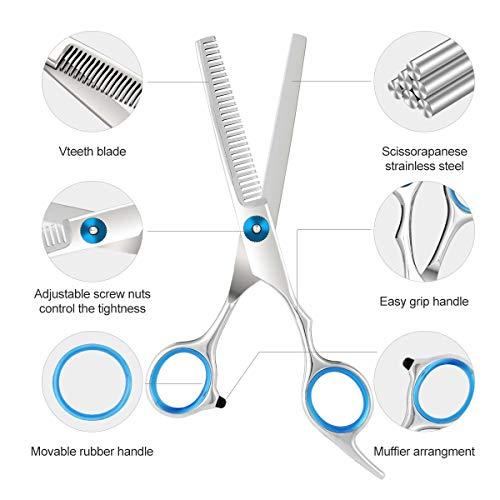 BESTBOMG Professional Hair Cutting Scissors Shear Kits Set Hairdressing Scissors Kit,Thinning Scissor,Hair Comb,Leather Scissors Case Barber Salon Capes Home Shear Kit For Men Women