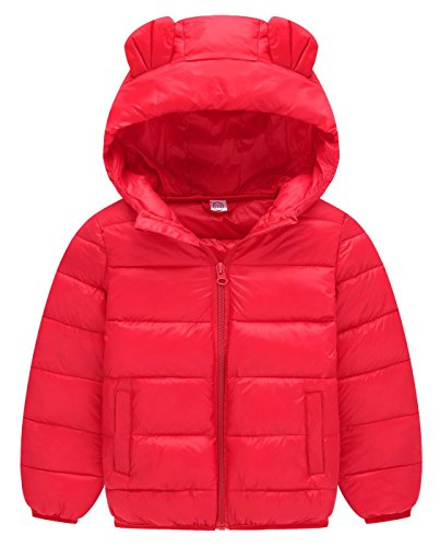 - Happy Cherry Kids Girls Coat Padded Cotton Insulated Warm Spring Two Hand Pocket Zipper Up Puffer Jacket Outwear 6-7T Red