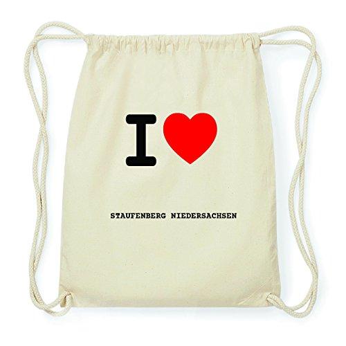 JOllify STAUFENBERG NIEDERSACHSEN Hipster Turnbeutel Tasche Rucksack aus Baumwolle - Farbe: natur Design: I love- Ich liebe McrtVE
