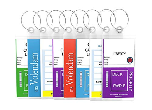 Cruise Tags Luggage Etag Holders Zip Seal & Steel Loops Thick PVC (8 Pack - Clear)