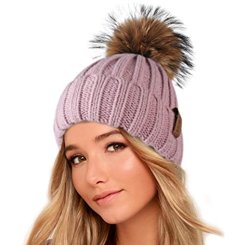 FURTALK Winter Knit Hat Real Raccoon Fur Pom Pom Womens for sale  Delivered anywhere in USA