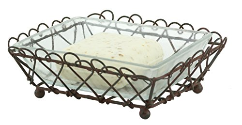 - Vintage Rectangular Rustic Wire Clear Glass Footed Soap Dish