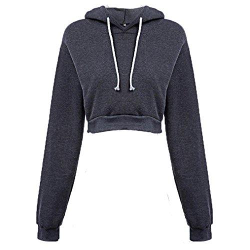 Womens Sweatshirt,FUNIC Women Hooded Loose Pullover Long Sleeve Brief Paragraph Hoodie Tops (S, Dark Grey)