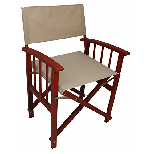 Acacia Directors Patio Chairs, Sturdy Yellow Balau Hardwood Construction, Weather-Resistant Frames and Durable, UV-Protected Fabric, Set of Two, Barn Red Frame/Khaki Textweave + Expert (Yellow Balau Wood)