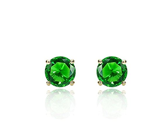 Surgical Stainless Steel Studs Earrings Little Girl - Women - Men Round 5MM Birthstone Cubic Zirconia Hypoallergenic ()