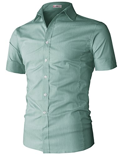 (H2H Mens Fitted Spread-Collar Pattern Non-Iron Dress Shirt Mint US 3XL/Asia 4XL (KMTSTS0133))