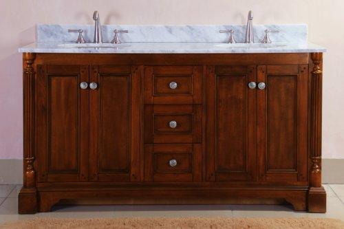Virtu USA RD-11060-WM-AO 61-Inch Megan Italian Carrara Marble Double Sink Bathroom Vanity, Antique Oak