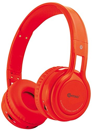 Contixo KB-2600 Kid Safe 85dB Over The Ear Foldable Wireless Bluetooth Headphone with Volume Limiter, Built-in Micro Phone, Micro SD Card Music Player, FM Stereo Radio, Audio Input & Output, Red
