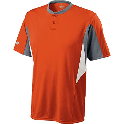 Holloway Men's Rocket Baseball Jersey , Orange|Black, XXL by Holloway