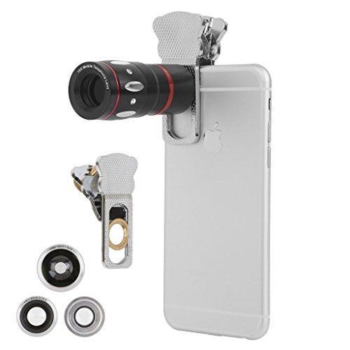 Ivation Universal Smartphone Camera Lens Kit for Samsung Galaxy 5, S5, S6, S6 Edga and All Smartphones - Includes 10x Telephoto Lens, 180° Fisheye Lens, Macro Lens, Wide Angle Lens, Universal Smartphone Clip - Bonus Lens Pouch Included - Silver