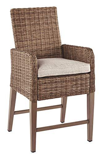 Ashley Furniture Signature Design – Beachcroft Outdoor Bar Stools – Set of 2 – Beige