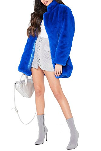 Blue Fox Fur Coat Jacket (Remelon Womens Long Sleeve Winter Warm Lapel Fox Faux Fur Coat Jacket Overcoat Outwear With Pockets Blue L)