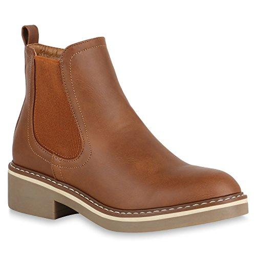 2112d4f01bdd Stiefelparadies Damen Stiefeletten Glitzer Chelsea Boots Leder-Optik  Blockabsatz Schuhe Knöchelhohe Stiefel Übergrößen Gr.
