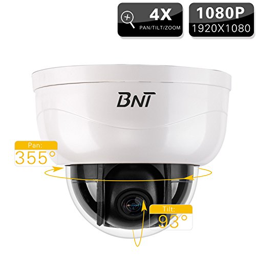 BNT Security Camera Pan/Tilt/Zoom Dome 1080P 4X Zoom IP Surveillance Camera Indoor Night Vision PTZ Video Camera HD CCTV Network Camera Auto Rotation Remote Access PTZ Control