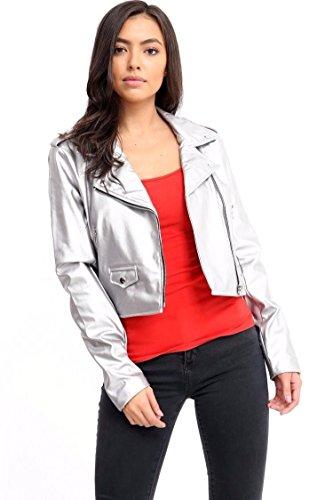 FLIRTY WARDROBE Ladies Vintage Crop Faux Leather Womens Jacket Top Biker Style Zipup PVC Outwear[Silver,8] ()
