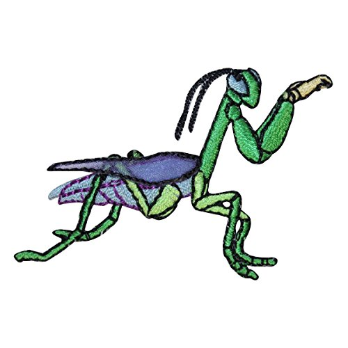 ID-0406-Praying-Mantis-Green-Patch-Cartoon-Insect-Embroidered-Iron-On-Applique