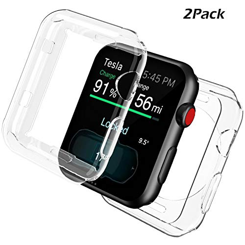 Uxinuo for Apple Watch Screen Protector, All-Around TPU Compatible with Apple Watch Case iWatch Protective Cover Bumper for Apple Watch Series 3, Series 2 42mm [2 Pack]