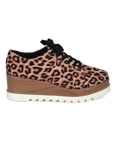 Alrisco Kvinnor Dubbelt Staplade Ranka Sneaker - Plattform Kil Dagdrivare - Åskådare Inspirerade Hipster Släpa Enda Dagdrivare Sneaker - Hd00 Av Qupid Samling Kamel Leopard Faux Mocka