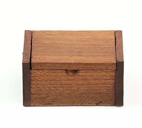 ONE2T Wooden Box Teak Wood Trinket Box Hinged Storage Home Decor Collectible (Dark) (Box Storage Trinket)